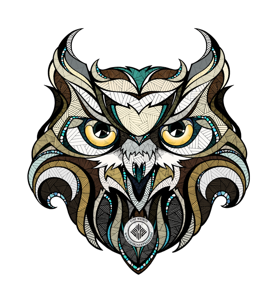 Illustration : un hibou coloré made by Andreas Preis