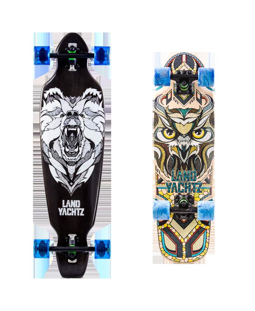 Skateboards de Preis avec deux illustrations : un ours et un hibou