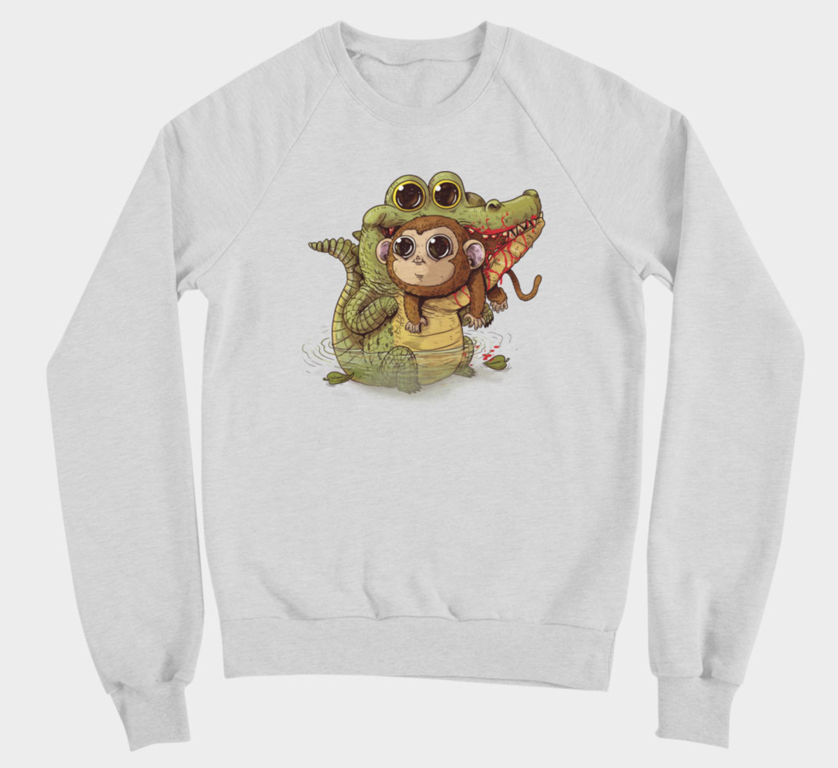 Illustration d'Alex Solis pour Adorable Circle of Life : Crocodile et singe sur pull