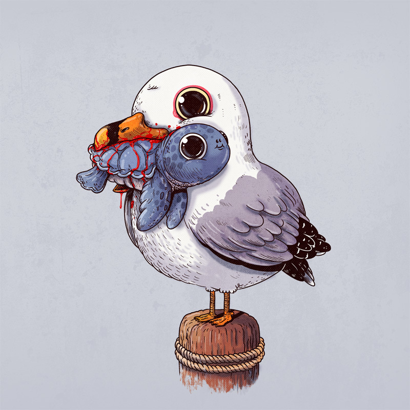 fox_rabbit_800Illustration d'Alex Solis pour Adorable Circle of Life : Mouette et tortue